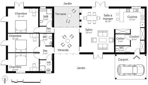 Forum construire Aménagement maison 80 m2 Pinterest - plan maison plain pied 80m2