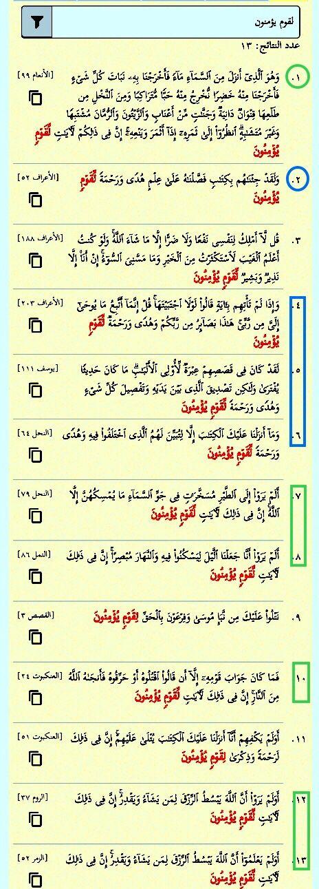 لقوم يؤمنون ثلاث عشرة مرة في القرآن ست مرات لآيات لقوم يؤمنون خمس منها إن في ذلك لآيات لقوم يؤمنون والسادسة وحيدة إن في ذلكم لآيات لقو Sal Quran