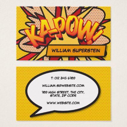 Personalised comic book pop art ka pow business card colourmoves