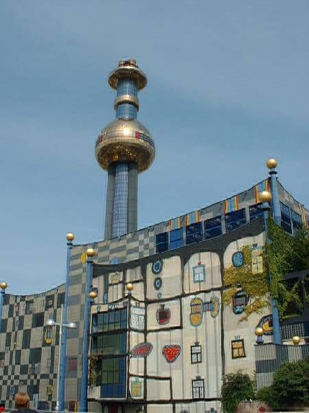 the incinerator is my favorite hundertwasser building he was a modern architect who liked bright colors and was not fond of straight lines the in - Modern Architecture Vienna