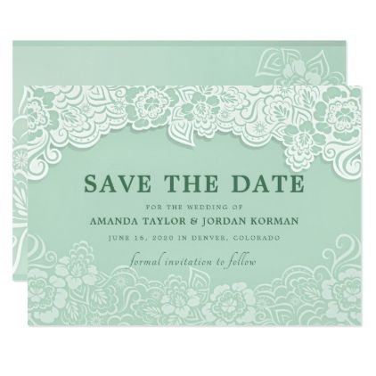 Floral Lace Mint Green Wedding Save The Date Zazzle Com