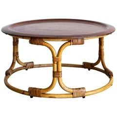 Bamboo Coffee Table With Magazine Rack Style Tito Agnoli For