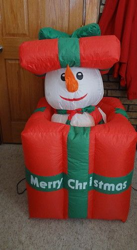 animated pop up snowman present airblown inflatable