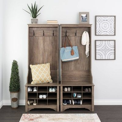 Narrow Hall Tree With 9 Shoe Cubbies