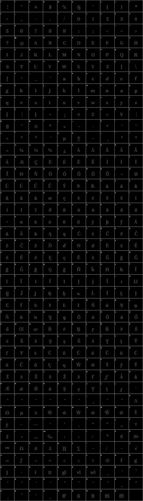 Abril Fatface Glyph Map Font Squirrel Free Font Fonts