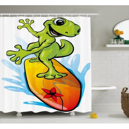 Ride The Wave Shower Curtain A Gecko Surfing With The Water Cute