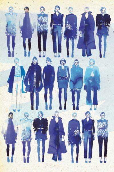 Samantha Hahn. Fashion girls 1. watercolor & ink