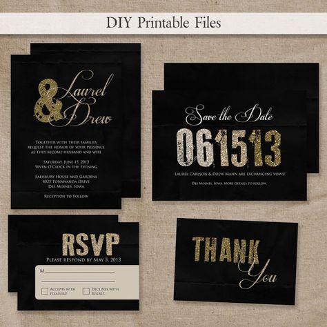 PRINTABLE Modern Black & Gold or Silver Glitter Wedding Invitation Set DIY Printable Files via Etsy - black and gold!