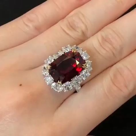 A Spectacular 10 Carats Cushion Shape Mozambique Ruby Surrounded By Ov White Gold Engagement Rings Vintage Gold Wedding Bands Women White Gold Engagement Rings