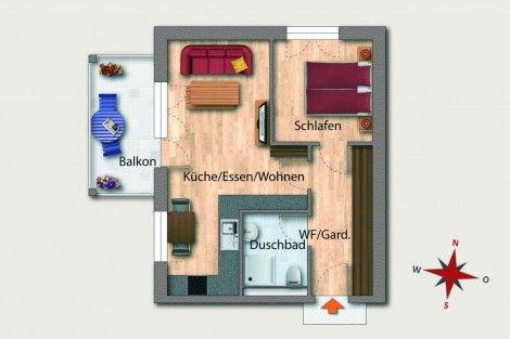Wohnung 07 1Obergeschoss 46,81 m² Aufteilung 2 Zimmer - küche zu verkaufen