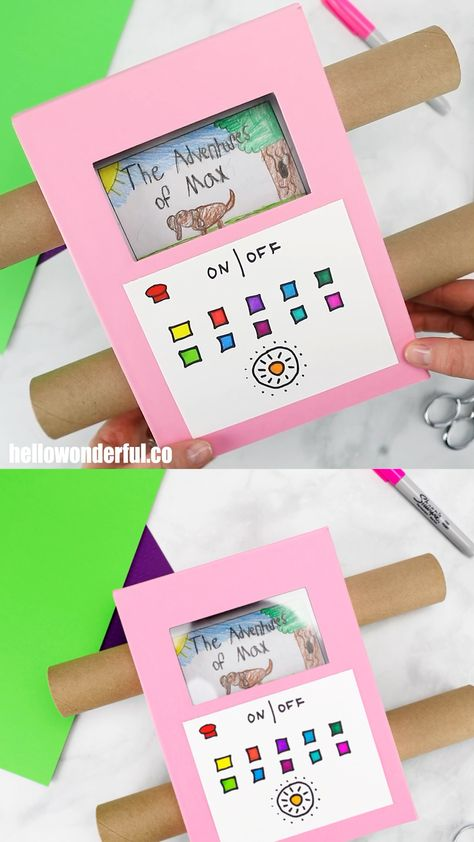 This recycled Cardboard TV craft is a fun way to show off your kids' art!