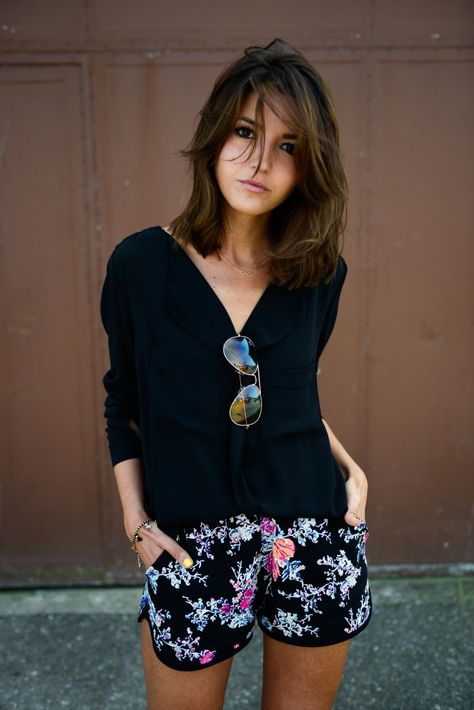 Black Floral #mode #style #look #fashion