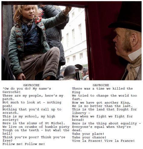 """Sometimes, I just randomly sing Gavroche's part around the house. And when he sings """"Vive la France!"""" that's the moment when I start squealing in the movie."""
