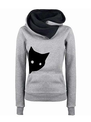 Casual Cat Print Pocket Hooded Stitching Long Sleeved Fleece