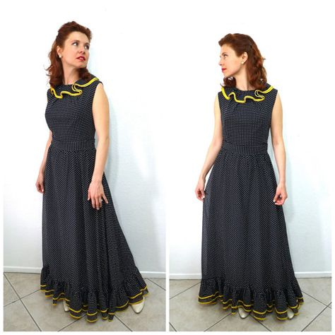 6989b881c13 Vintage 1960s Dress - MISS ELIETTE Black Sheer Cotton Polka dot ...