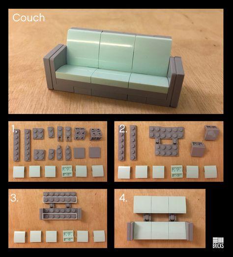 Couch Instructions - New Ideas - lego - Spielzeug Diy Lego, Lego Craft, Lego Duplo, Lego Modular, Lego Design, Legos, Casa Lego, Construction Lego, Lego Furniture
