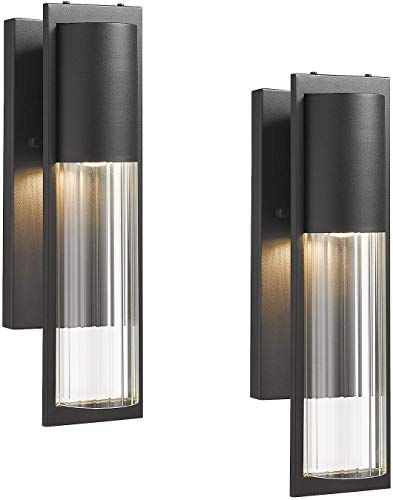 New Beionxii Exterior Wall Lights 2 Pack Transitional Outdoor Wall Sconce Porch Lights Sand Textured Black Finish Clear Ribbed Glass Mb9003 2pk Online Chi In 2020 Exterior Wall Light Wall Lights Outdoor