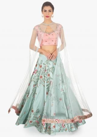 b8f6a9839992e Mauve Satin and Net Lehenga Blouse Set Featuring Embroidered Net Only on  Kalki