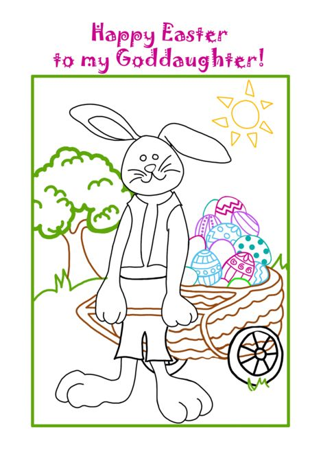 Goddaughter Happy Easter Coloring Book Card You Color Card Ad Ad Easter Coloring Goddaughter Ha Easter Coloring Book Digi Stamps Easter Colouring
