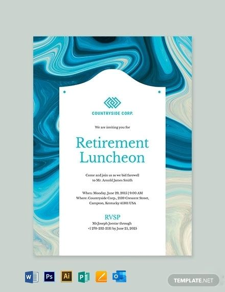Retirement Luncheon Invitation Template Free Jpg Illustrator Word Outlook Apple Pages Psd Publisher Template Net Invitation Template Free Invitation Cards Invitations