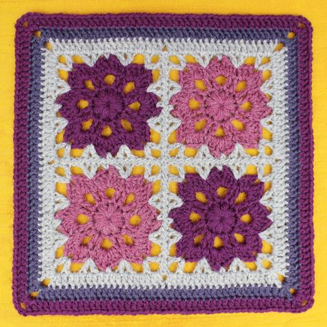 Free Crochet Pattern: Flowers In The Window Afghan Square