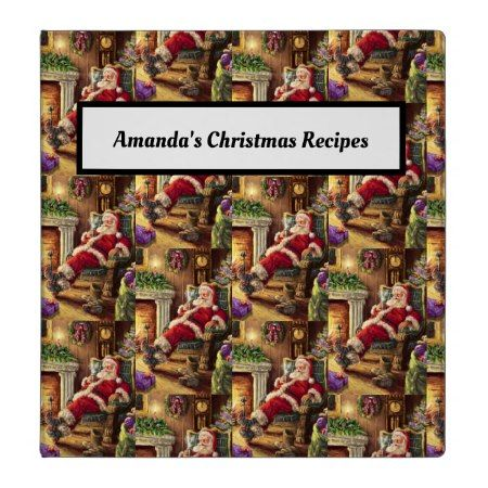 Vintage Jolly Santa Sitting By Fireplace 3 Ring Binder Zazzle Com Christmas Pictures Vintage Merry Christmas Vintage Old Time Christmas