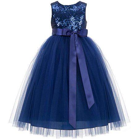 Heart Cutout Sequin Flower Girl Dress Special Occasion Dresses 172seq