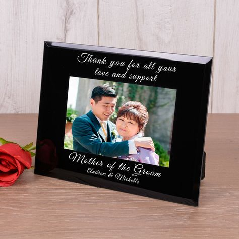 Personalised Glass Photo Frame Mother and Father of the Bride Groom Wedding Gift