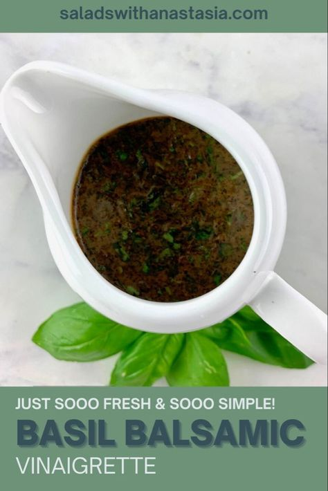 We have used fresh aromatic garden basil along with good quality balsamic and garlic in this delectable vinaigrette recipe that is also great for marinating your meat and poultry. #vegan #healthy #dairyfree #homemadedressing #healthydressing #saladdressing #balsamic #vinaigrette #easy #simple