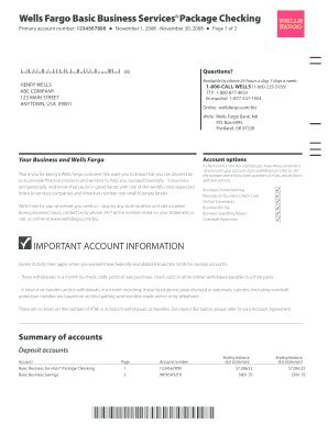 Wells Fargo Statement Of Account Form With Images Statement