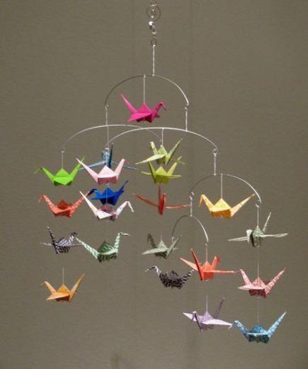 Rainbow Origami Crane Spiral Mobile | Etsy | 521x435