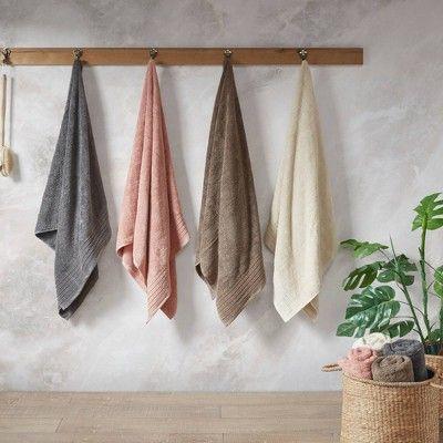 8pc Velvetine Cotton Bath Towel Set Ivory Cotton Bath Towels