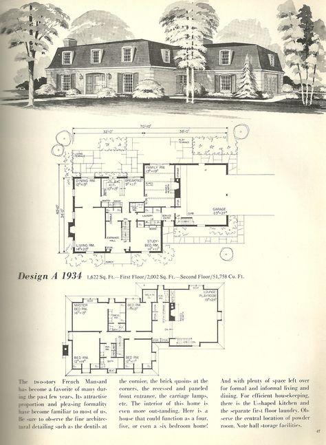 Vintage floor plans on pinterest vintage house plans for 1970s house plans