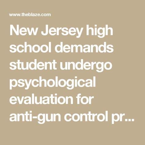 New Jersey high school demands student undergo psychological - psychological evaluation