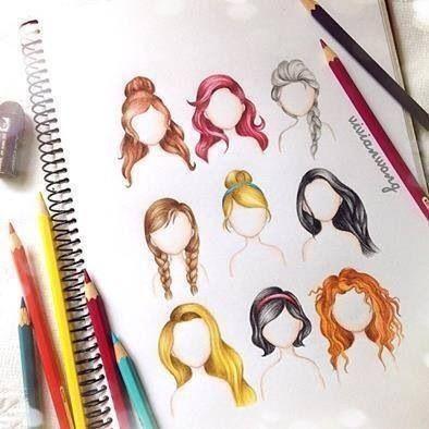 Disney princess and queen hair drawings