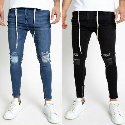 Details about  /Mens Slim Fit Stretch Ripped Denim Casual Skinny Jeans Biker Trousers Long Pants