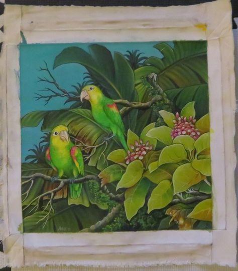 Double-yellow Amazon Parrot Acrylic on Canvas Original Painting