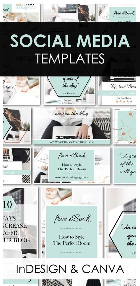 Turquoise Social Media Templates for Canva