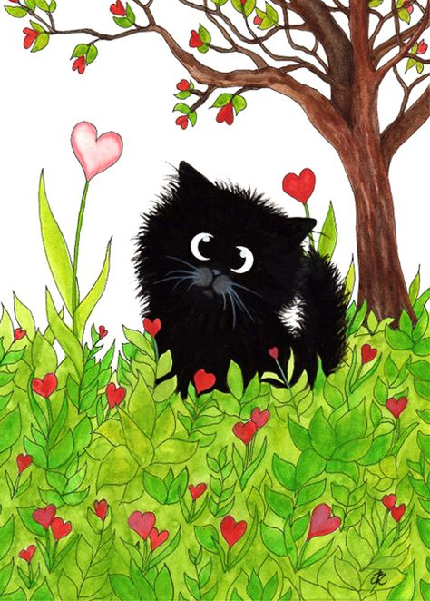 """""""Black Fuzzy Cat You are One of a Kind Valentine"""" par AmyLyn Bihrle"""