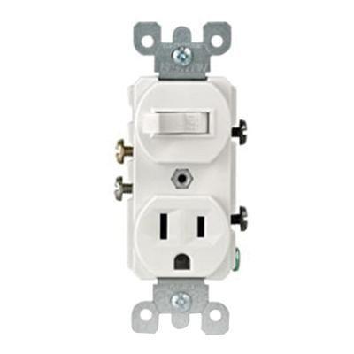 Leviton 5225 W 1 Pole Duplex Ac Combination Receptacle Switch Device 120 Volt Ac Switch 125 Volt Ac Receptacle 15 Amp Nema 5 1 Leviton Receptacles House Wiring