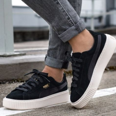 Puma Shoes   Puma Suede Platform Sneakers   Color: Black ...
