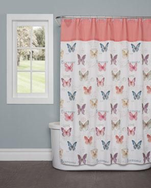 Rainbow Butterfly Fabric Shower Curtain In 2020 Fabric Shower