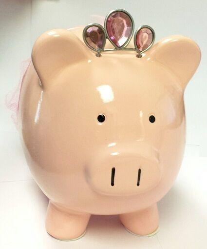 Pink Princess Ballerina Piggy Bank Money Coin Save Decorative