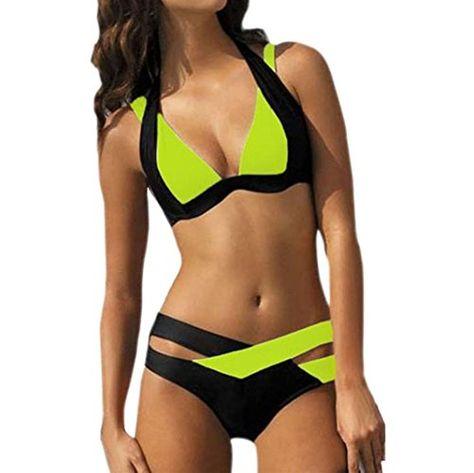 Damen Hohe Taille Gepolstert BH Bikini Monokini Badeanzug Strand Schwimmanzug