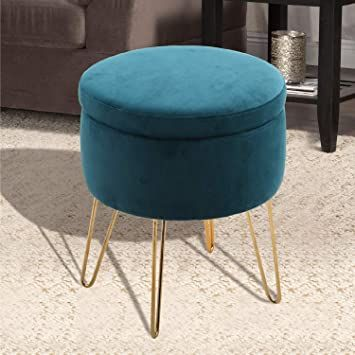 Round Velvet Ottoman Stool Pouffee Bedroom Footstool Kids Chair Padded Seat