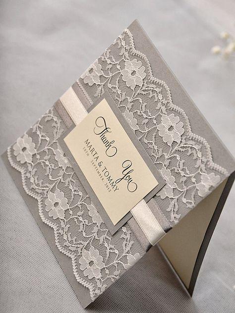 Benutzerdefinierte Liste 50 Hochzeit Dankeskarten mit gedruckten Fotos, Lace grau-Dankeschön-Karte, Vintage Hochzeit Dankeskarte,