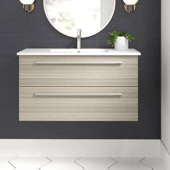 Orren Ellis Mcpeak 48 Wall Mounted Single Bathroom Vanity Set Reviews Wayfair Single Bathroom Vanity Contemporary Bathroom Vanity Bathroom Vanity