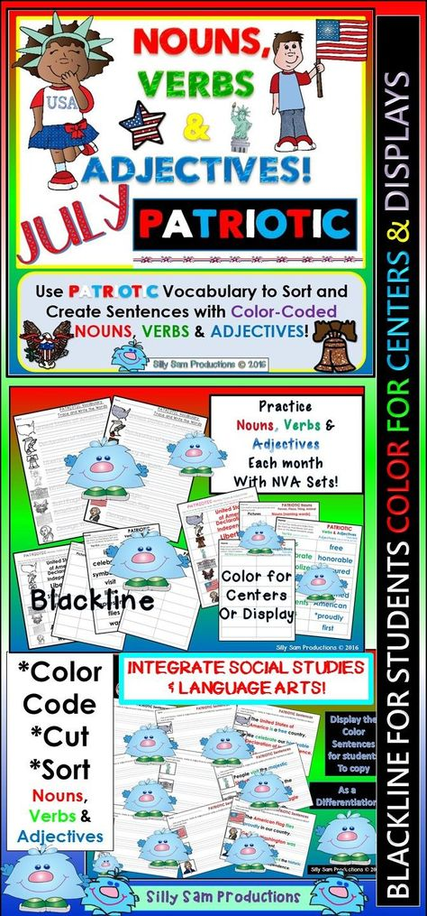 Nouns, Verbs & Adjectives JULY - PATRIOTIC Literacy Activities