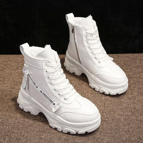 platform shoes 2019 New Womens Winter Sneakers Warm Fur Chunky Sneakers Platform High Heel Casual Shoes Woman Ladies Leather High Top Sneakers White Boots, Lace Up Ankle Boots, High Heel Boots, High Top Boots, Sneakers Mode, Sneakers Fashion, Fashion Shoes, High Heel Sneakers, Skull Fashion