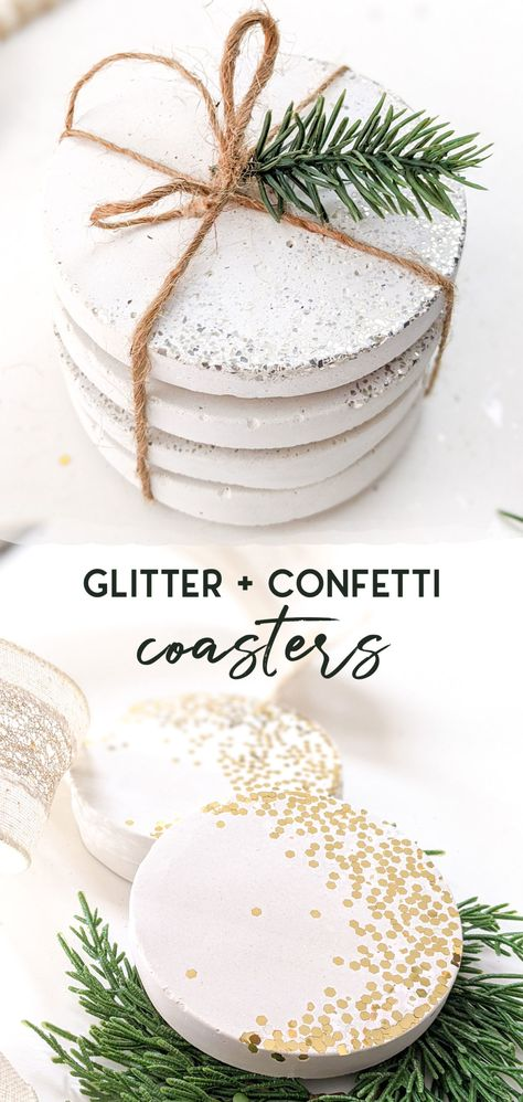 Glitter and confetti concrete coasters using white concrete and a silicone mold - 3 different beautiful options from just a few supplies! Makes an excellent hostess give or New Years Eve party decor. #hostessgift #partygift #NYE #newyears #christmas #coasters #concrete #whiteconcrete #diycoaster
